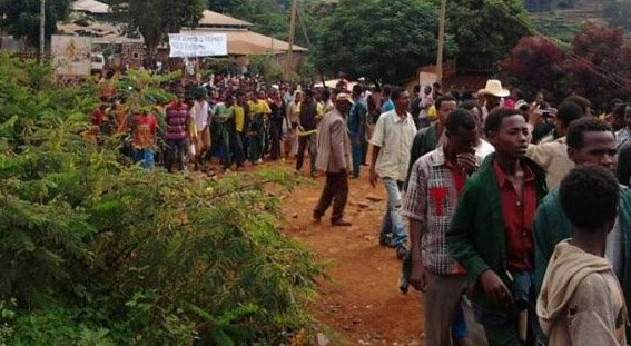 Oromo students protesting in Burayu. (Image courtesy of Gadaa.com)