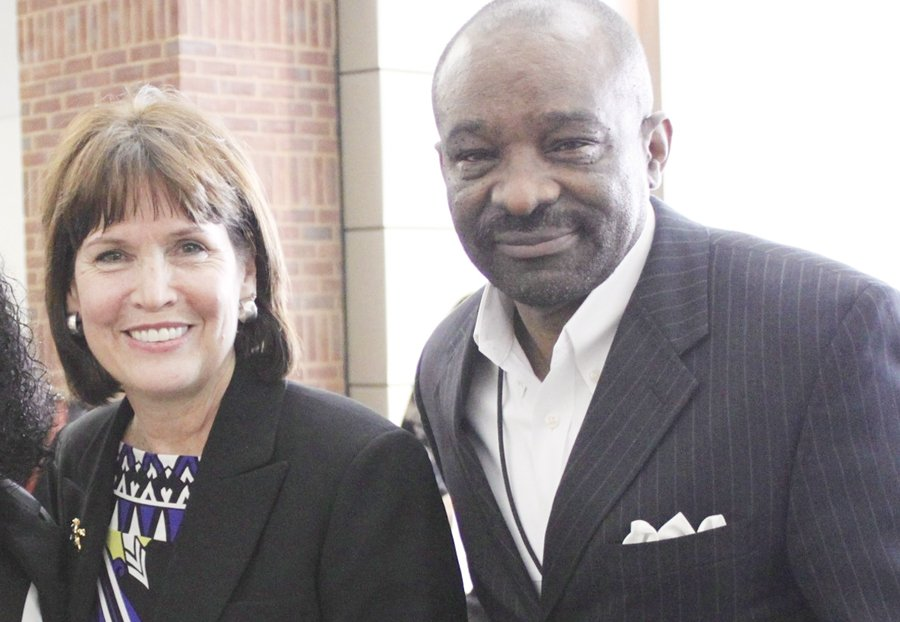 Congresswoman Betty McCollum and Clarence Hightower (Photo by Sarah Elbing)
