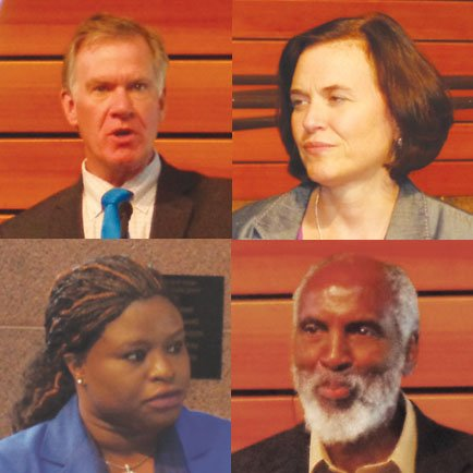 (Photos by Charles Hallman) Clockwise (from right): Minneapolis Mayor Betsy Hodges, Professor john a. powell, Professor Nekima Levy-Pounds, St. Paul Mayor Chris Coleman