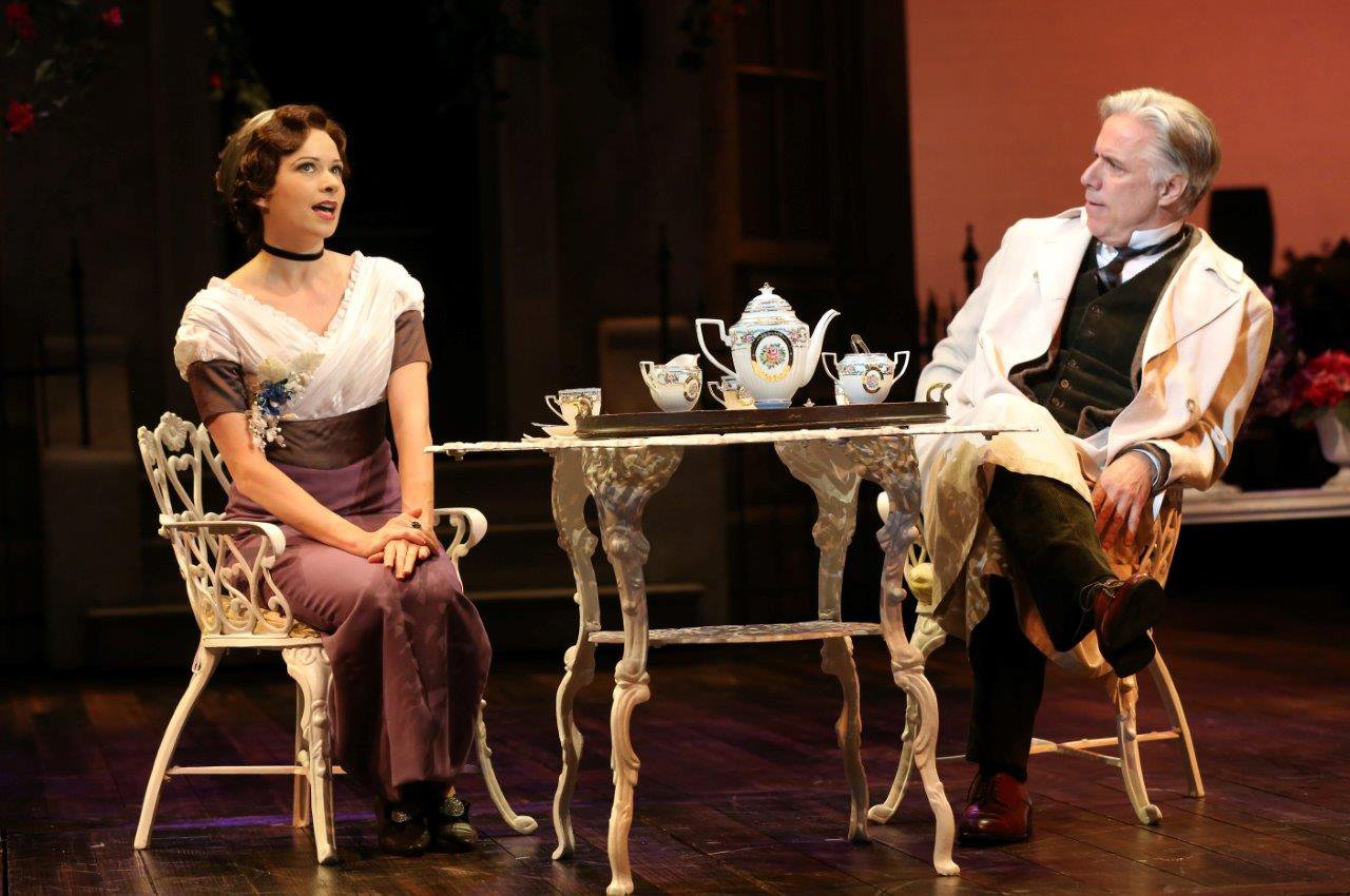 Eliza Doolittle (Helen Anker), flush with success, explains to Professor Henry Higgins (Jeff McCarthy) exactly what she things of his condescension. Photo by Joan Marcus.