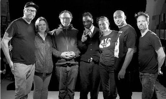 (Photo courtesy Cathy Kostova) L to R, Mark Wojahn, producer; Cathy Kostova, editor; Jeff Schell, art department; Jon Jon Scott, producer; Deanna Johnson, make up; Muja Messiah, artist; and David Schnack, director of photography.
