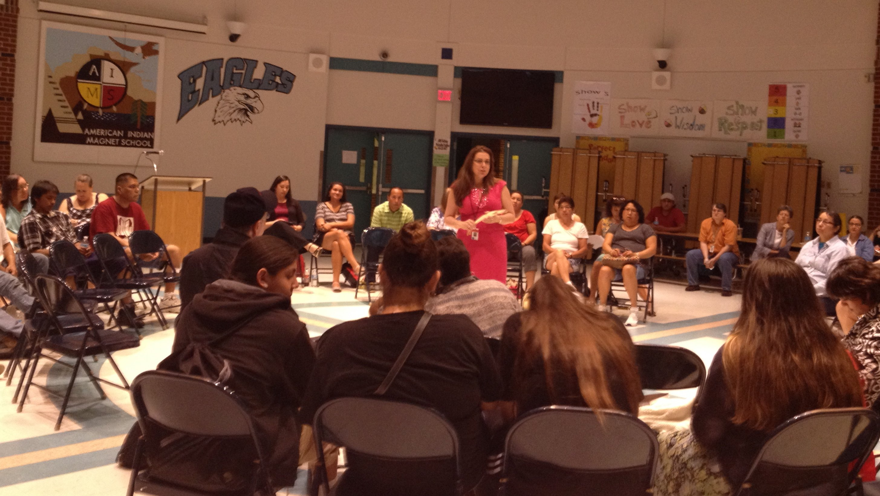 SPPS superintendent Valeria Silva speaks to June 16 community meeting. (Photo by Sheila Regan)