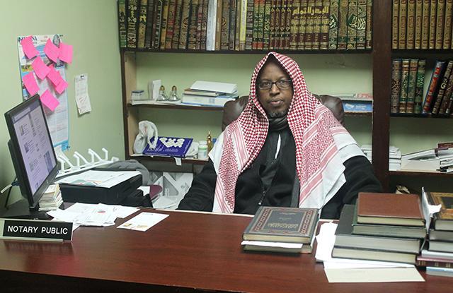 (MinnPost photo by Ibrahim Hirsi) Sheik Abdurahman Haguf, co-founder and leader of Abu Huraira Islamic Center.
