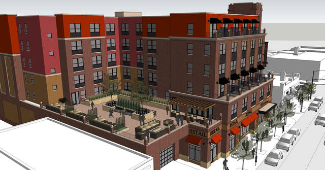 A rendering of the proposed hotel that would be located between 13th and 14th Ave on 4th street in Dinkytown. (Image courtesy Doran Companies)