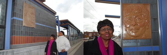 (Photos courtesy of Metropolitan Council) Left: Gordon Parks' niece and nephew, Dorothea Burns and Kofi Bobby Hickman, admire a likeness of their famous uncle immediately following the artwork's installation in 2013. Right: Dorothea Burns with her terra cotta panel on the Victoria Street Station.