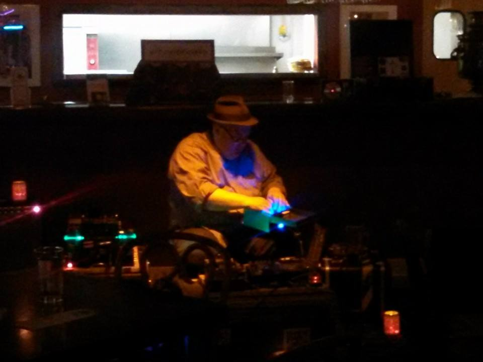 (Photo by Ann Treacy) Tim Kaiser plays experimental music inside his music box at the Khyber Pass.