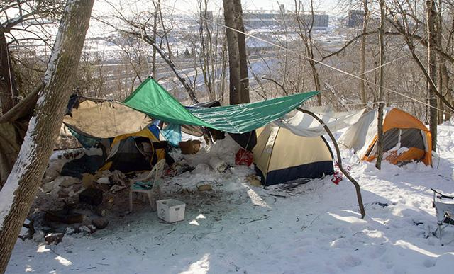 A homeless encampment just south of downtown Duluth. (MinnPost photo by Paul Walsh)