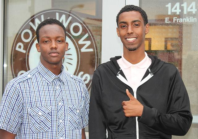 Khalid Mohamed, left, and Liban Adam will be involved this month in working with raising funds for people in Somalia, who don't have the means to buy food during Ramadan. (MinnPost photo by Ibrahim Hirsi)