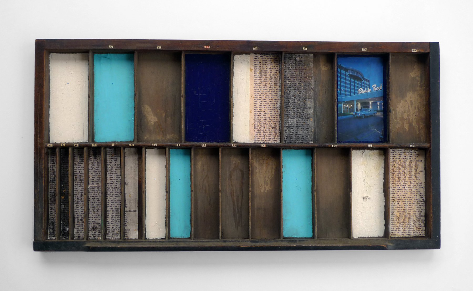Room 22 by Louise Erdrich2015, 16.75 x 32 inches, mixed media on found object