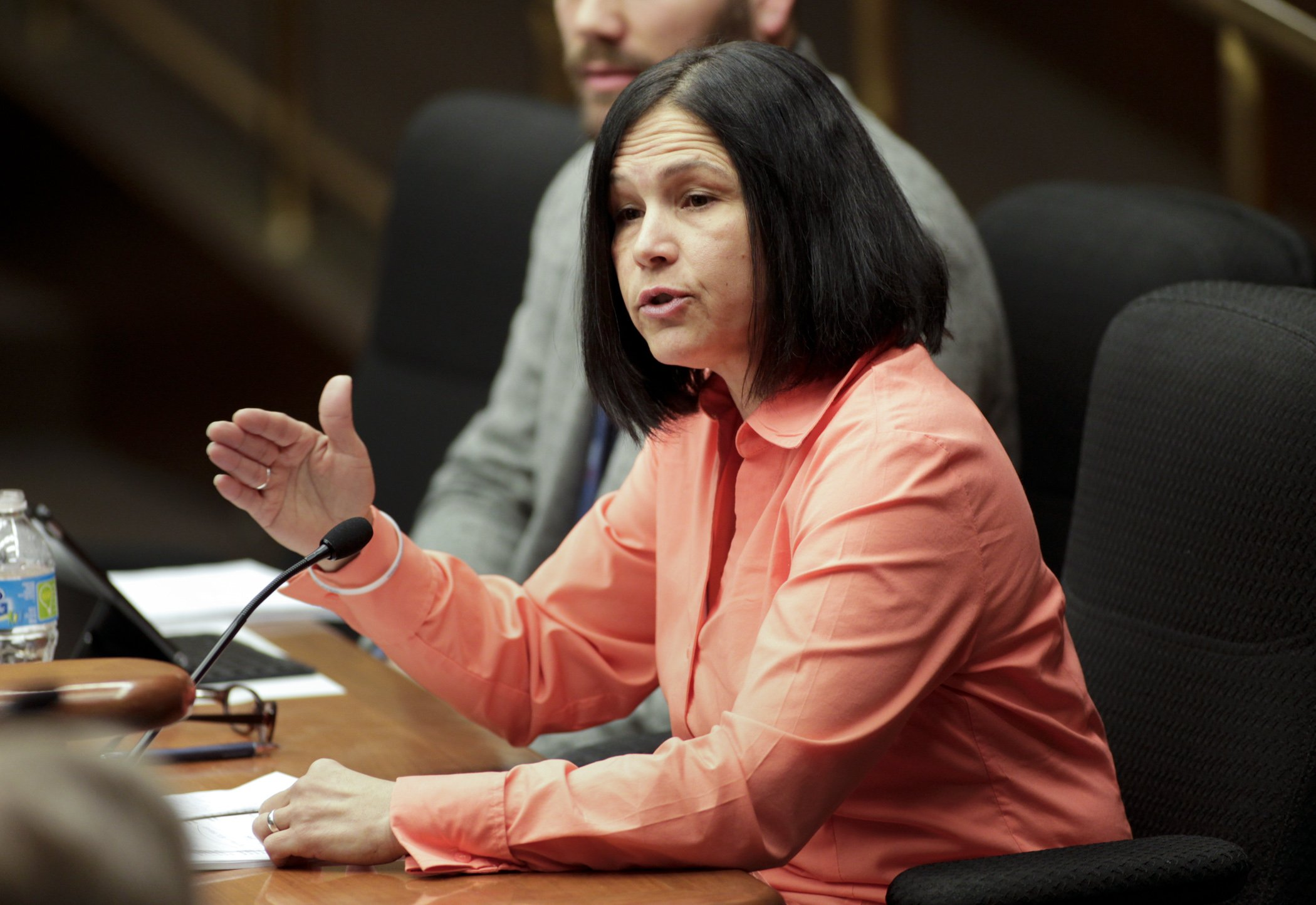 Education Commissioner Brenda Cassellius explains provisions of HF1591, a bill that contains the department's policy proposals, during March 12 testimony before the House Education Innovation Policy Committee. Photo by Paul Battaglia