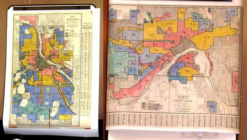 "Historic ""redlining"" maps of Minneapolis anad Saint Paul; blacks were unable to get access to federally subsidized mortgages."