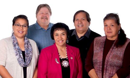 "PHOTOS: White Earth Council (left to right): Tara Mason, Secretary/Treasurer; Steven ""Punky"" Clark, District I Representative; Erma Vizenor, Chairwoman; Kenneth ""Gua"" Bevins, District III Representative; and Kathy Goodwin, District II Representative (Top)."