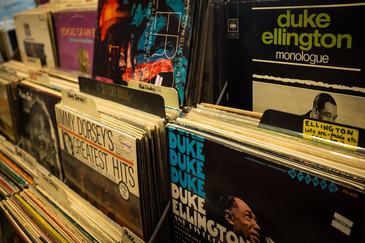 The jazz section at Hymie's Records