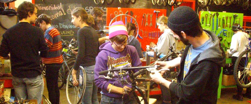 Open workshop night at Spokes community bike shop.