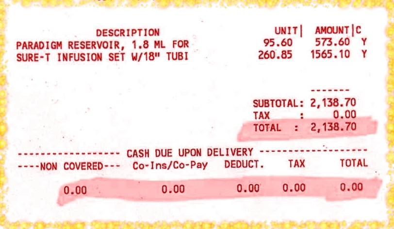 Insulin pump invoice