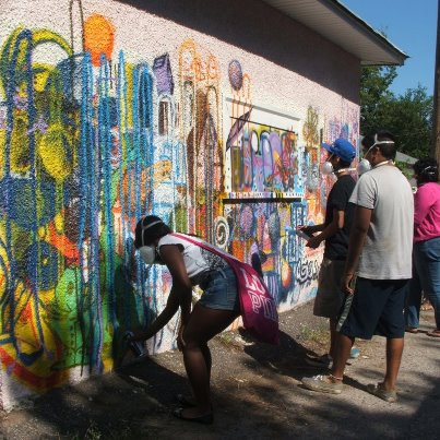 Working on the practice wall (photo by Angelia Sampson and Danielle Mkali)
