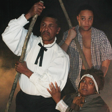 Joe Nathan Thomas, Yolanda Bruce, and Adam Western in Adrift on the Mississippi. Photo by Scott Pakudaitis, courtesy History Theatre.