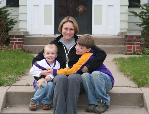 Ellie Zuehlke with her sons Gus and Graham - all smiles now that Ellie's maternal depression is a distant memory.