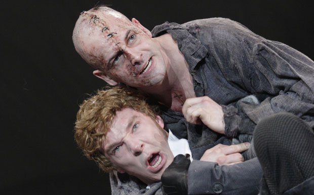 Benedict Cumberbatch as the Creature and Jonny Lee Miller as Victor Frankenstein. Photo courtesy National Theatre.