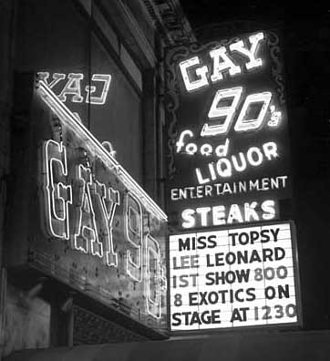The Gay 90's marquee in 1964. Photo courtesy John McNab (Creative Commons).