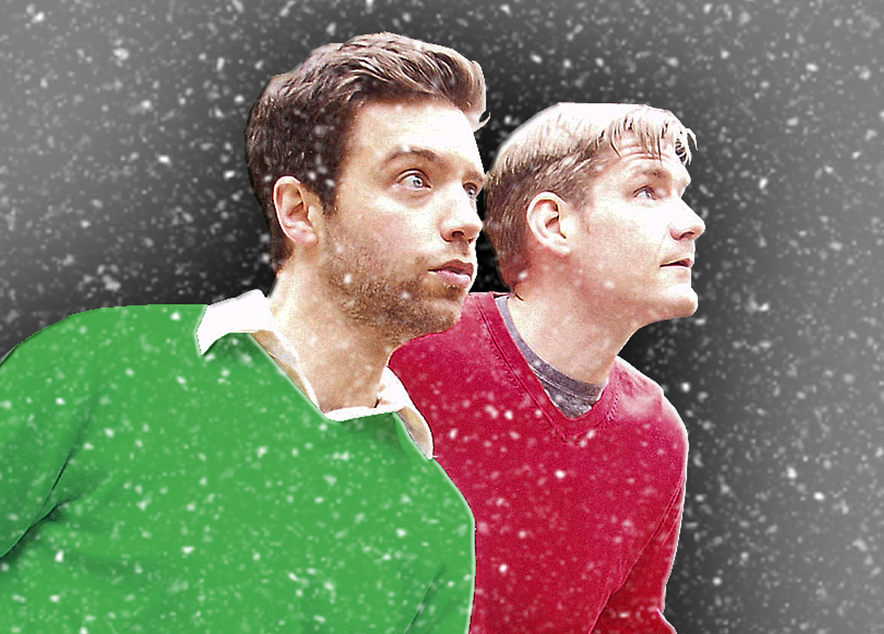 Joshua English Scrimshaw (left) and Levi Weinhagen in The Harty Boys Save Christmas. Photo courtesy Comedy Suitcase.