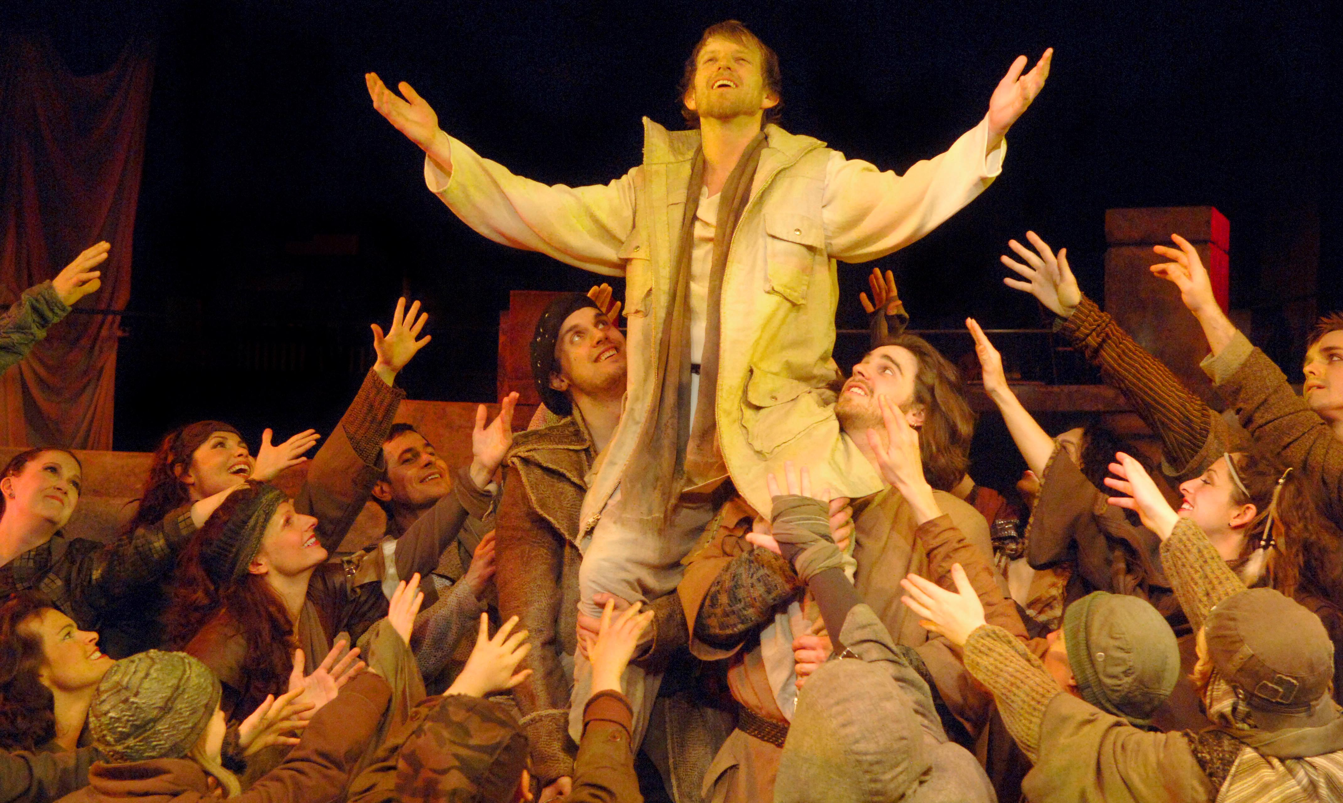 Ben Bakken in Jesus Christ Superstar. Photo by Act One, Too Ltd., courtesy Chanhassen Dinner Theatres.