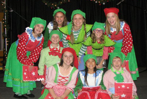 Cast members from Jingle Bells, Batman Smells. Photo courtesy Stages Theatre Company.