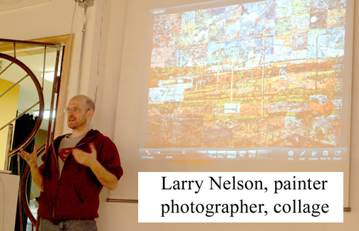 Larry Nelson presents during an Art Salon for Fertile Minds gathering.