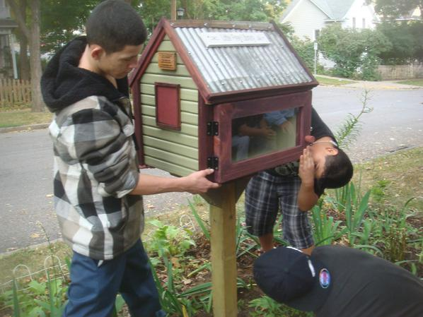 Installing the Little Free Library(photo courtesy of Sage Holben)