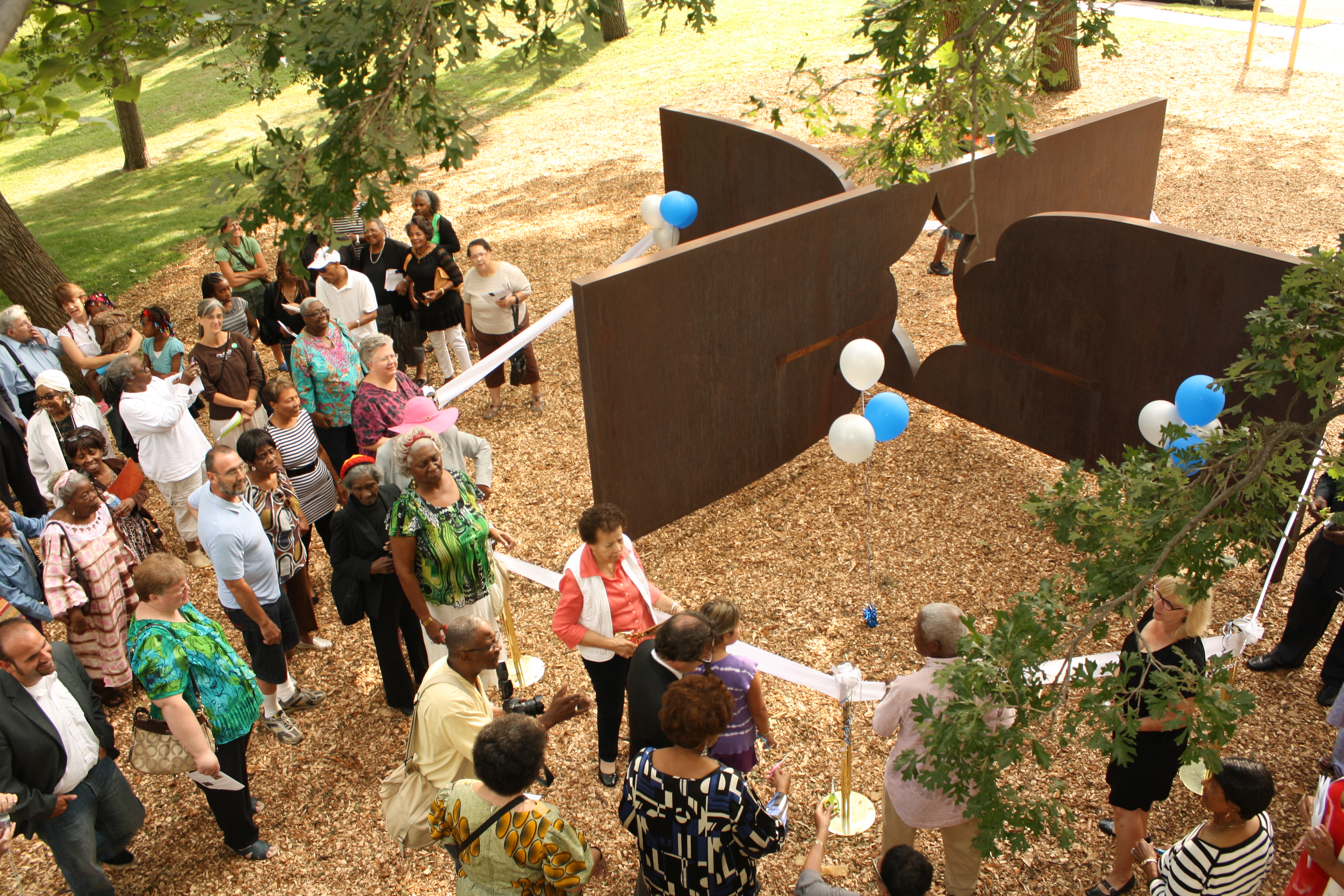 "Celebrants gather around the ""Freedom Form #2"" sculpture in Rev. Dr. Martin Luther King, Jr. Park in Minneapolis on Aug. 28."