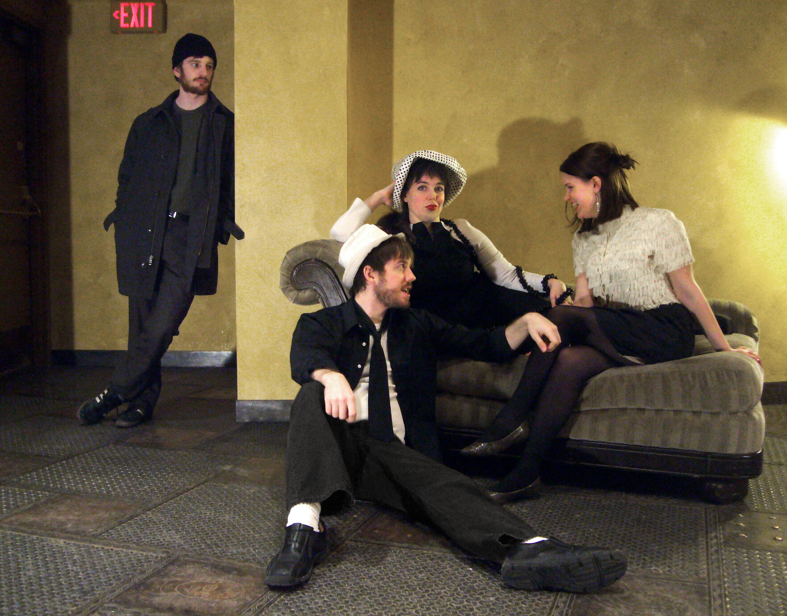 "l-r: -R:  Brendan Frost, Matt ""Sass"" Spring, Isabel K. Nelson, and Breana Jarvis in Le Misanthrope. Photo by Nathan Christopher, courtesy Illusion Theater."