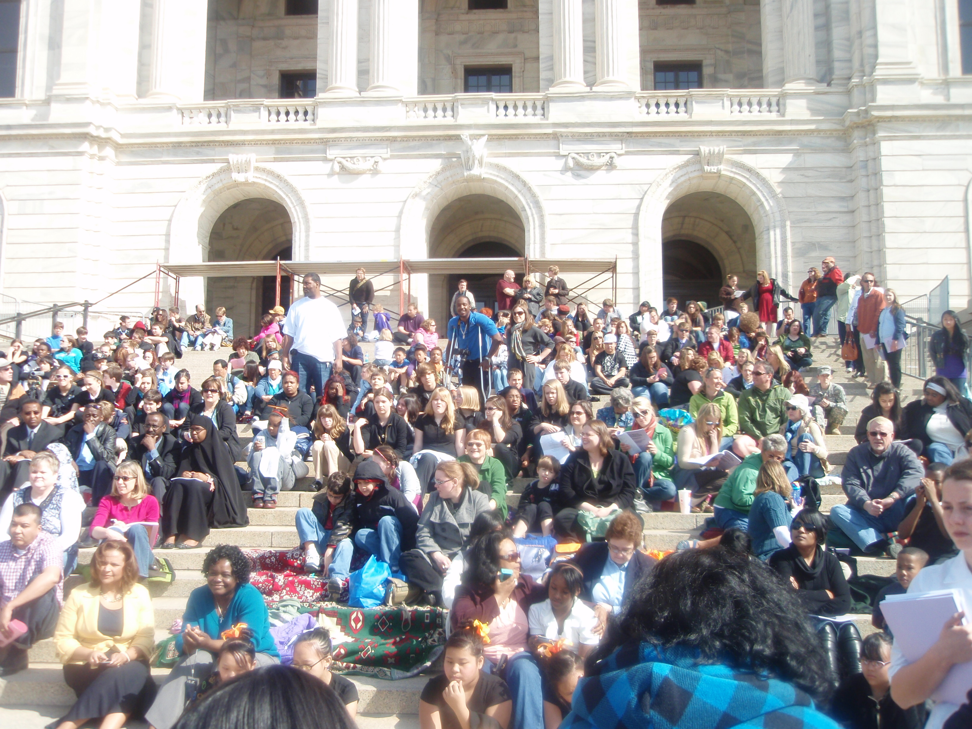 Students, parents & educators gather on state capitol steps