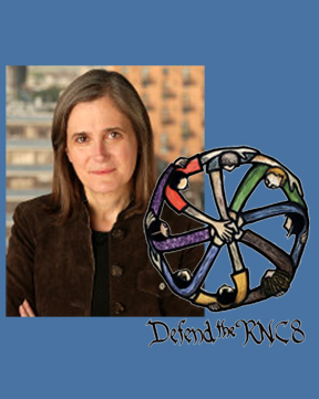 Democracy Now!'s Amy Goodman and the RNC Eight logo