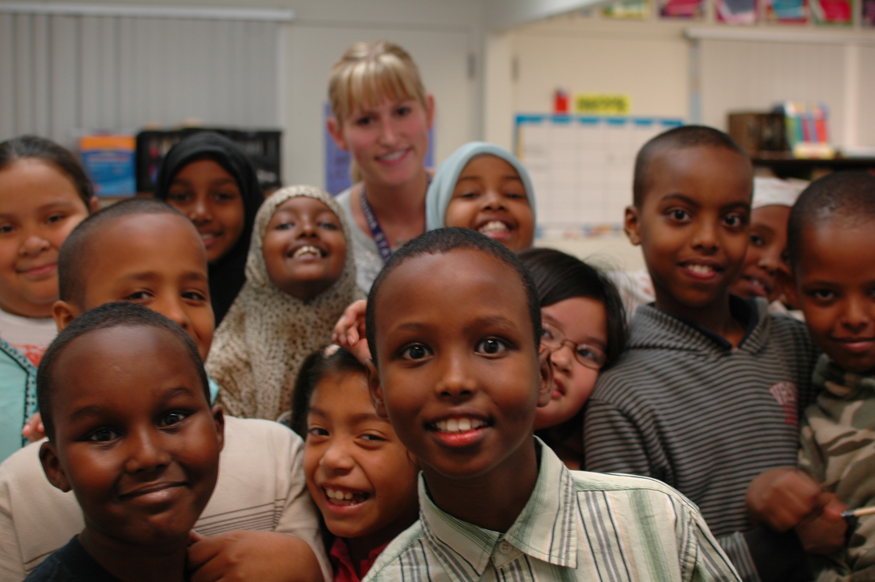 Fourth-graders from Cedar Riverside Community School vie for the camera's attention. Photos by Karen Hollish.