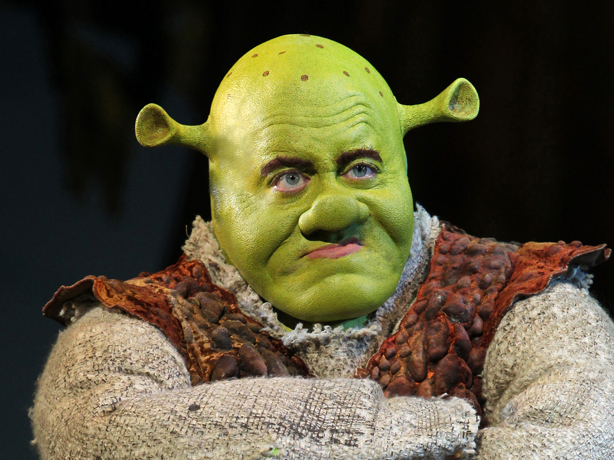 Eric Petersen in Shrek. Photo by Joan Marcus, © Dreamworks Theatricals.