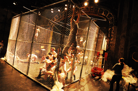 A cage filled the Southern stage last October for The Woyzeck Project. Photo by Jay Gabler.