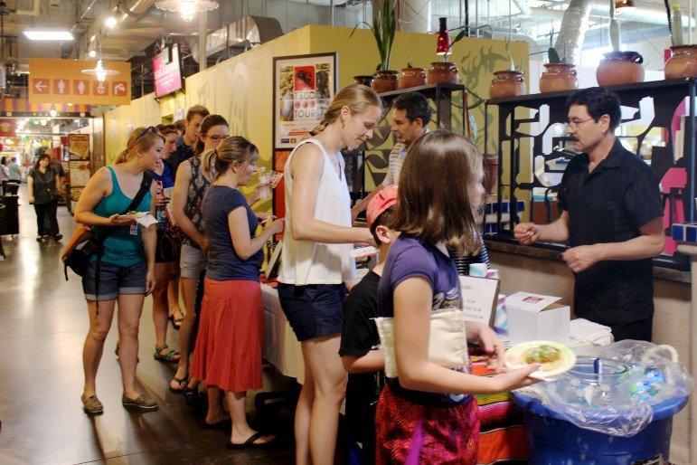 Taco Tour participants lined up outside Salsa a la Salsa.