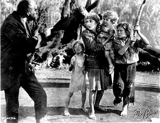 Gustav von Seyffertitz as Mr. Grimes threatens Mary Pickford as Molly in Sparrows