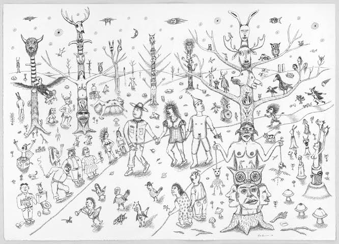 Jim Denomie, untitled, 2015, 32 x 40 inches, ink on paper