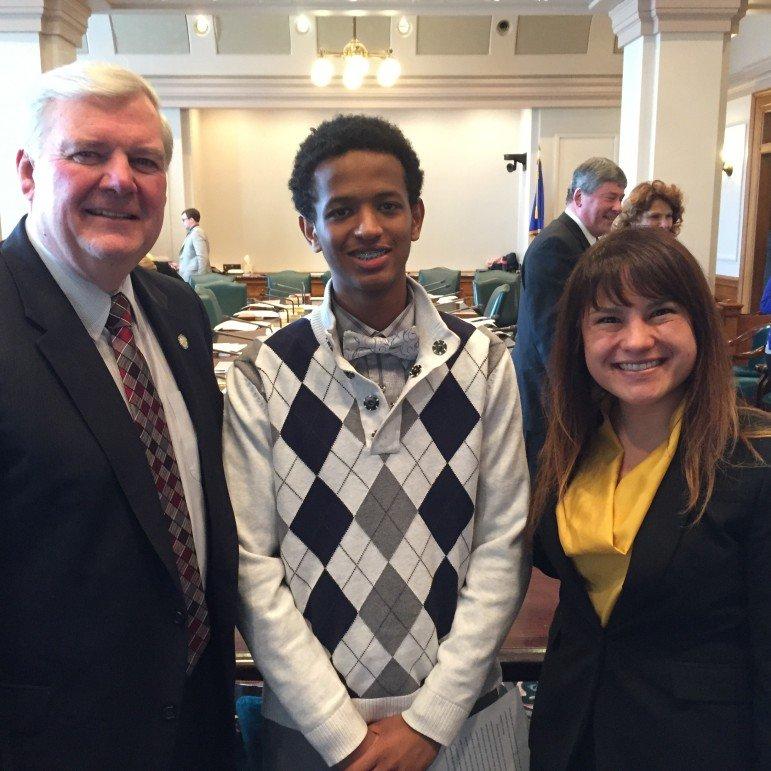 Senator Greg Clausen, Chala Tafesa, and teacher Courtney Humm at the State  Capitol.