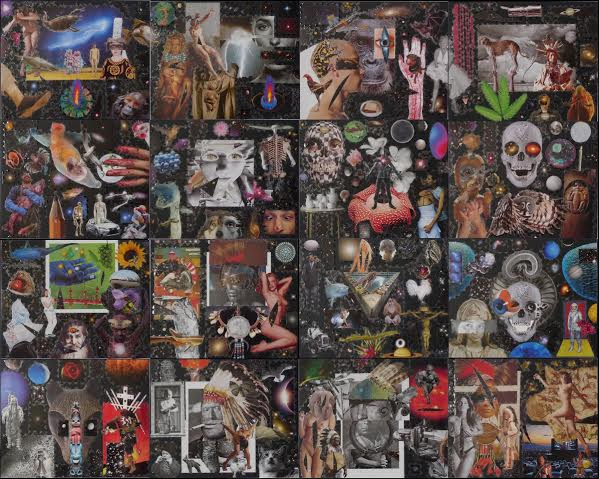 Frank Big Bear, Black Collage, 2015, 64 x 80 inches, collage on museum board