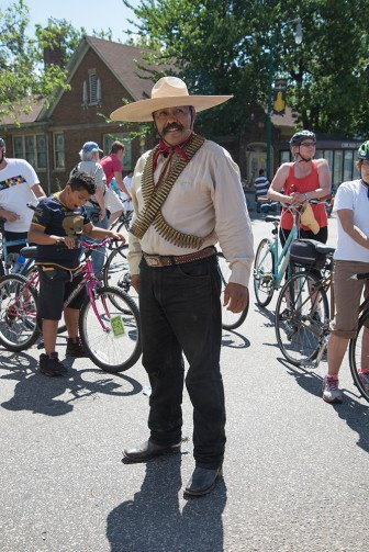 """Ruben Urrutia dressed as General Zapata. """"It's powerful for Mexicans to have this sculpture here because Zapata was a revolutionary hero."""""""