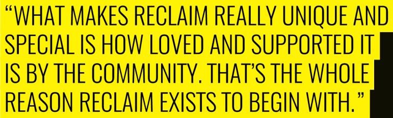 RECLAIM - community support quote