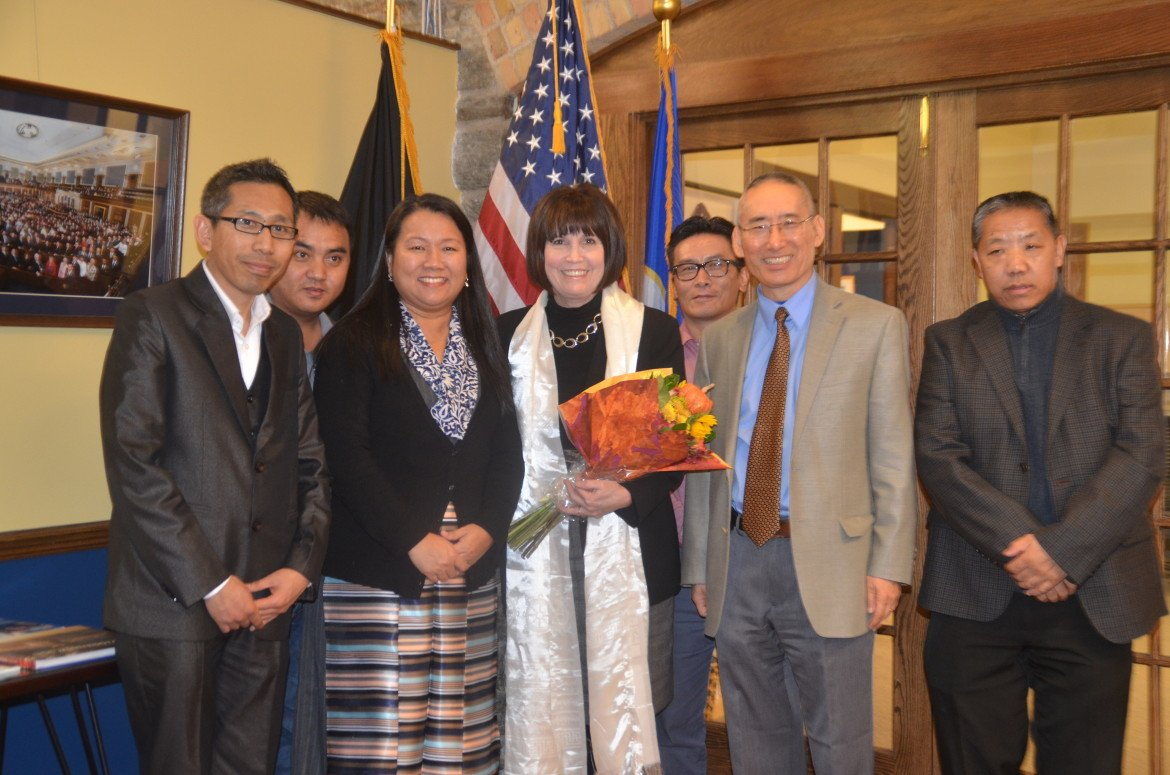 Board members of the Tibetan American Foundation of Minnesota along with Rep. Betty McCollum (center) at her office in St. Paul.