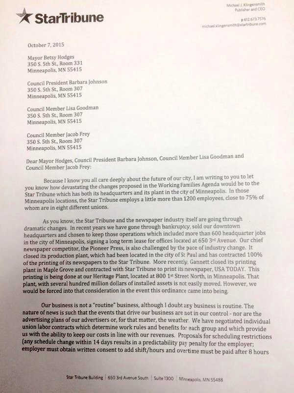 Michael Klingensmith's letter to Mayor Betsy Hodges and three City Council members.