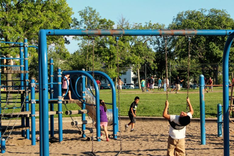The 14th Avenue playground in Powderhorn Park was built in 1989. Photo by Cristeta Boarini.