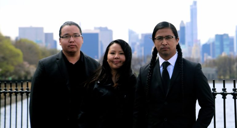From left, Thorne, Tiana and Wakinyan LaPointe. Photo courtesy of the Circle News.