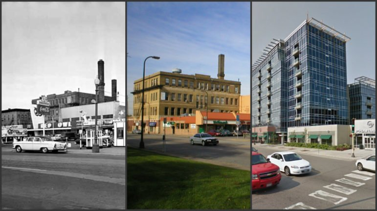 Central Avenue between University Avenue SE and Fourth Street SE through the years. From left to right: 1956, 2005 and 2016. Photos courtesy of Northeast River District and Google Maps.