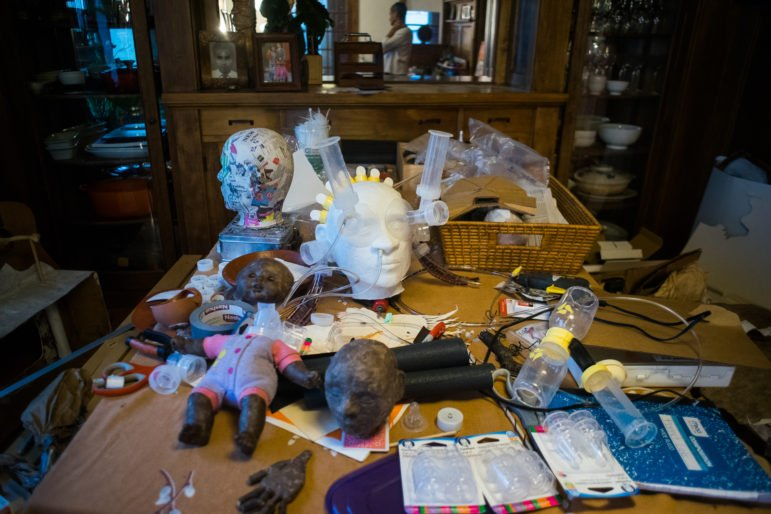Supplies for Wanduragala's breast pump puppet. Photo by Annabelle Marcovici.
