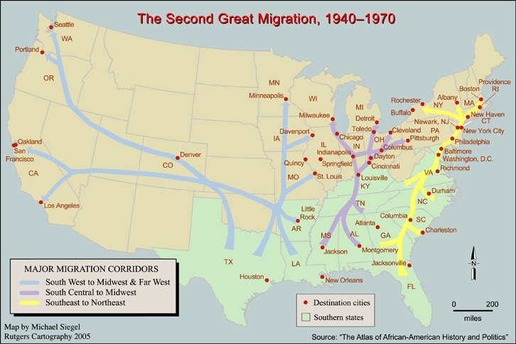 Map Monday The Second Great AfricanAmerican Migration  Twin
